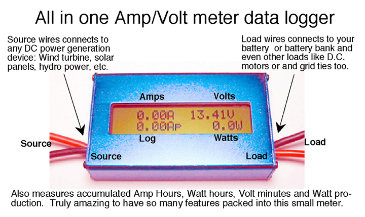Amp Electrical Data Logger : Amp watt meter with data logger for solar and wind